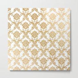 Gold swirls damask #4 Metal Print