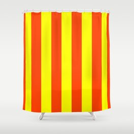 Bright Neon Orange and Yellow Vertical Cabana Tent Stripes Shower Curtain