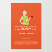 pushing daisies Canvas Prints featuring Pushing Daisies - Olive by MacGuffin Designs