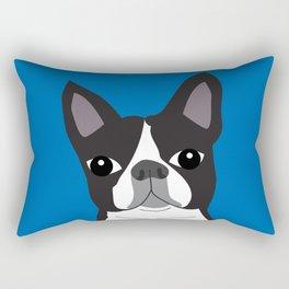 Boston Terrier Lilly Blue Rectangular Pillow