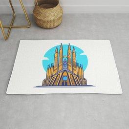 La Sagrada Familia Cartoon Icon Illustration Famous Building Traveling Icon Concept Isolated Flat Ca Rug