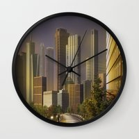 cityscape Wall Clocks featuring Cityscape by Viggart