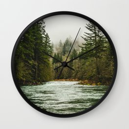 Wanderlust Forest River - Mountain Adventure in Foggy Woods Wall Clock