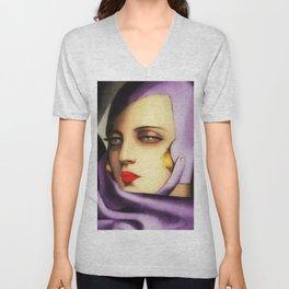 Classical Art Deco Masterpiece 'Self-Portrait' by Tamara de Lempicka Unisex V-Neck