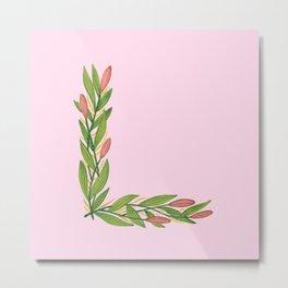 Leafy Letter L Metal Print
