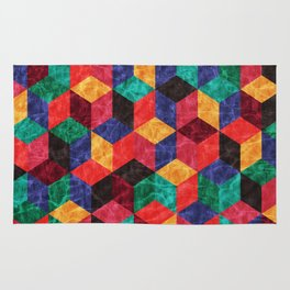 Colorful Isometric Cubes V Rug