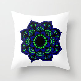 Peacock flower   Mandala Throw Pillow