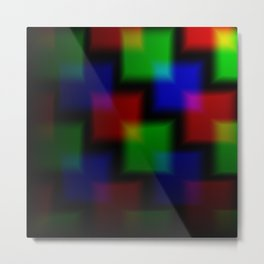 Blurred Background of the squares on the neon background. Neon overlapping squares on a black backgr Metal Print