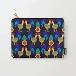 Pecking Order - Folk Art Roosters Carry-All Pouch