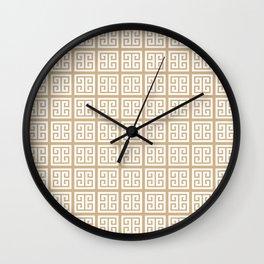 Tan Brown Greek Key Pattern Wall Clock