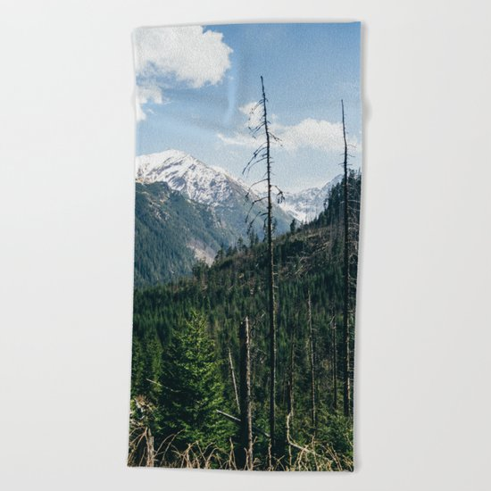 Mountains and Forest Landscape Beach Towel