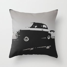 Fiat 500 classic, Gray on Black Throw Pillow