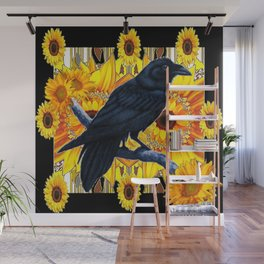 GRAPHIC BLACK CROW & YELLOW SUNFLOWERS ABSTRACT Wall Mural