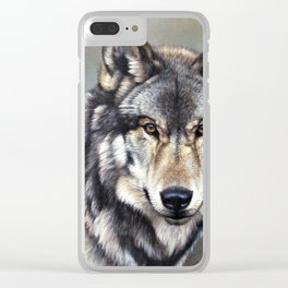 Timber Wolf by Alan M Hunt Clear iPhone Case