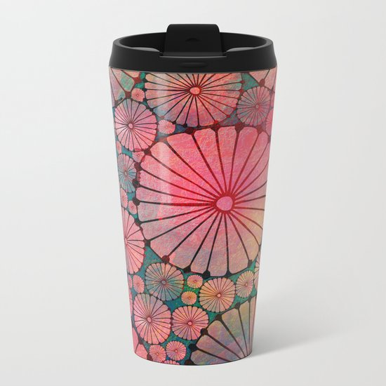 Abstract Floral Circles Metal Travel Mug