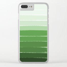 Yote - ombre green brushstrokes abstract minimal canvas painting art decor Clear iPhone Case