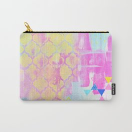 Abstract Mix - Lemon Yellow, Magenta & Turquoise Carry-All Pouch