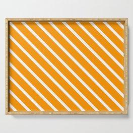 Neon Orange Diagonal Stripes Serving Tray