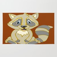 rocky Area & Throw Rugs featuring Rocky Raccoon by J&C Creations