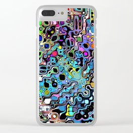 Colorful Chaotic Shapes Clear iPhone Case