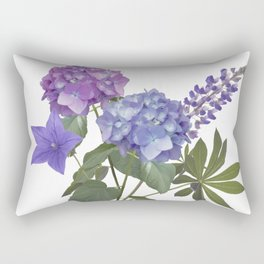 Blue and purple flowers arrangement isolated on white Rectangular Pillow