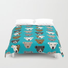 Pitbull faces dog art dog pattern pitbulls cute gifts for rescue dog owners Duvet Cover