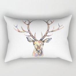 Deer's watercolor portrait. Rectangular Pillow