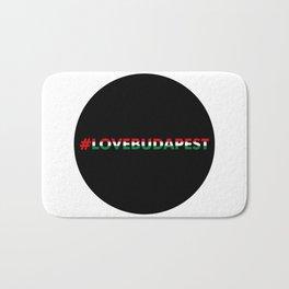 Hashtag Love Budapest, circle, black Bath Mat