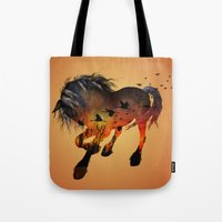 horse Tote Bags featuring Horse by nicky2342