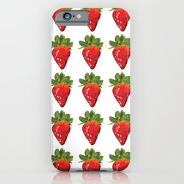 strawberries pattern grid, fill, repeating, tiled | elegant iPhone Case