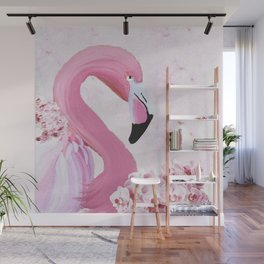 PINK FLAMINGO AND ORCHID OIL PAINTING Wall Mural