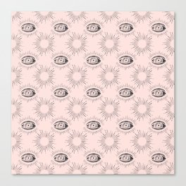 Sun and Eye of wisdom pattern - Pink & Black - Mix & Match with Simplicity of Life Canvas Print