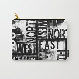 East South North West Black White Grunge Typography Carry-All Pouch