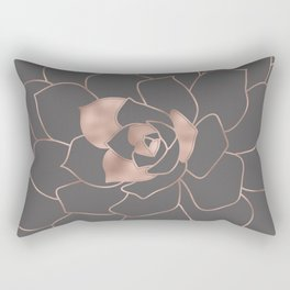 Rosegold  blossom on grey - Pink metal - effect flower Rectangular Pillow