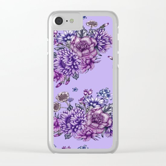 Vintage Purple Florals Clear iPhone Case