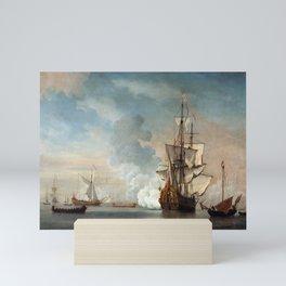 Willem van de Velde the Younger - English Warship Firing a Salute Mini Art Print