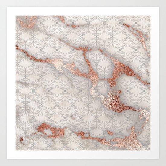 Rose gold marble pattern II Art Print