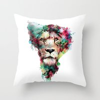 king Throw Pillows featuring THE KING by RIZA PEKER