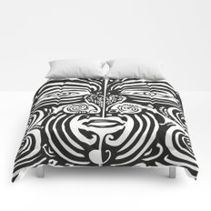 Maori Moko | Tribal Tattoo | New Zealand | Black and White Comforters
