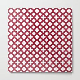 Crimson Red Stars & Crosses Pattern Metal Print