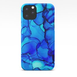 Blue alcohol ink iPhone Case