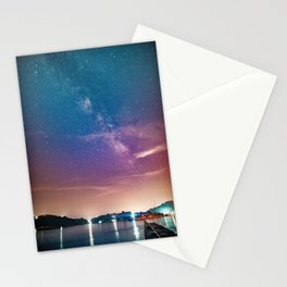 Milky Way Over Water Stationery Cards