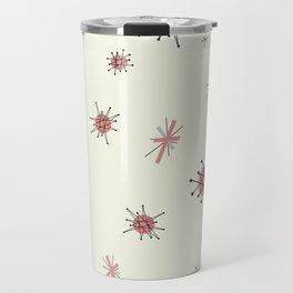 Mid Century Atomic Starburst Pink Pattern Travel Mug