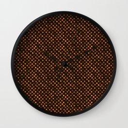 Retro Colored Dots Fabric Pumpkin Orange Wall Clock