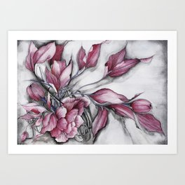 """Dancing"" in red, abstract floral ink watercolor drawing Art Print"