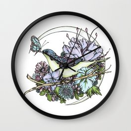 Bird and Butterfly Friendship in Pastel Wall Clock