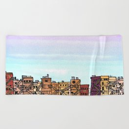 New York Purple Sky Beach Towel