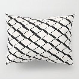 Modern Diamond Lattice 2 Black on Light Gray Pillow Sham
