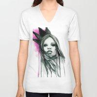 downton abbey V-neck T-shirts featuring Watercolour Fashion Illustration Portrait Abbey Lee by Elise Reid