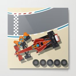 Race car in pit stop Metal Print